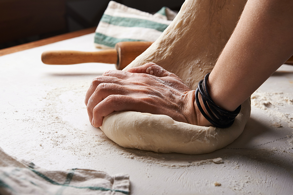 Kneading the dough for Farmer's Bread (bauern brot) using Eden Valley biodynamic flour